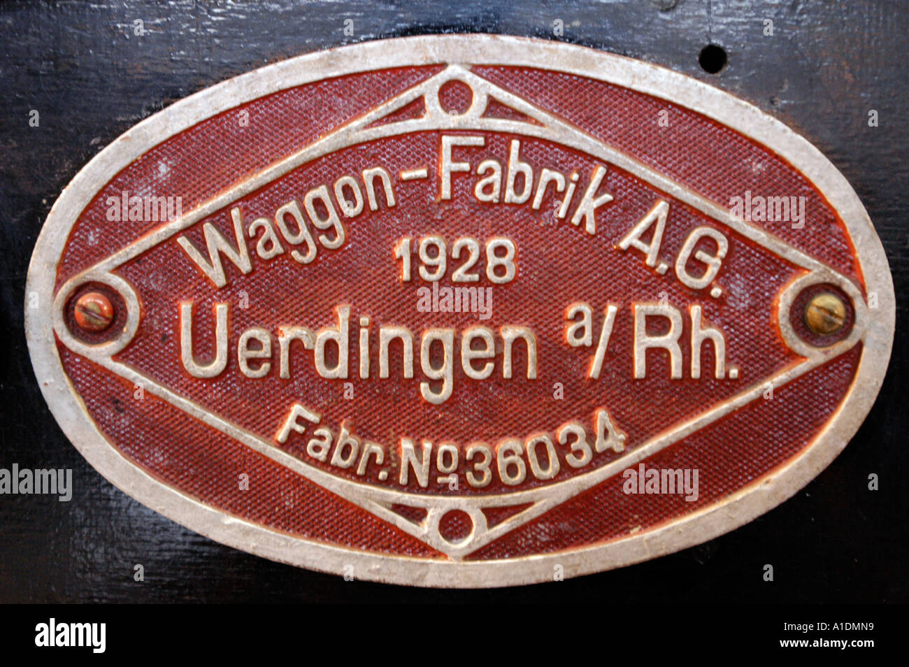 Heritage sign of Waggon Fabrik AG 1928 Uerdingen am Rhein - Stock Image