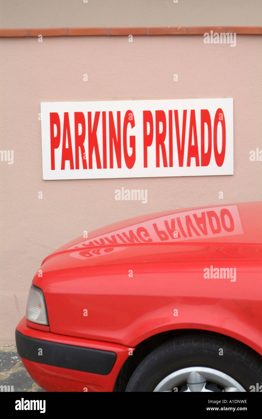 private, parking, sign, car, park, ticket, warden, spainish, spain, towaway, towing, zone, no, towed, - Stock Image