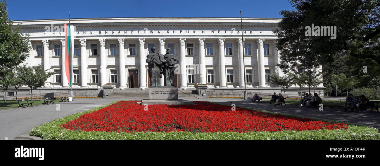 National Library Of Bulgaria  With The Statues Of Saints Cyril  And Methodius In Sofia The  Capital Of Bulgaria - Stock Image