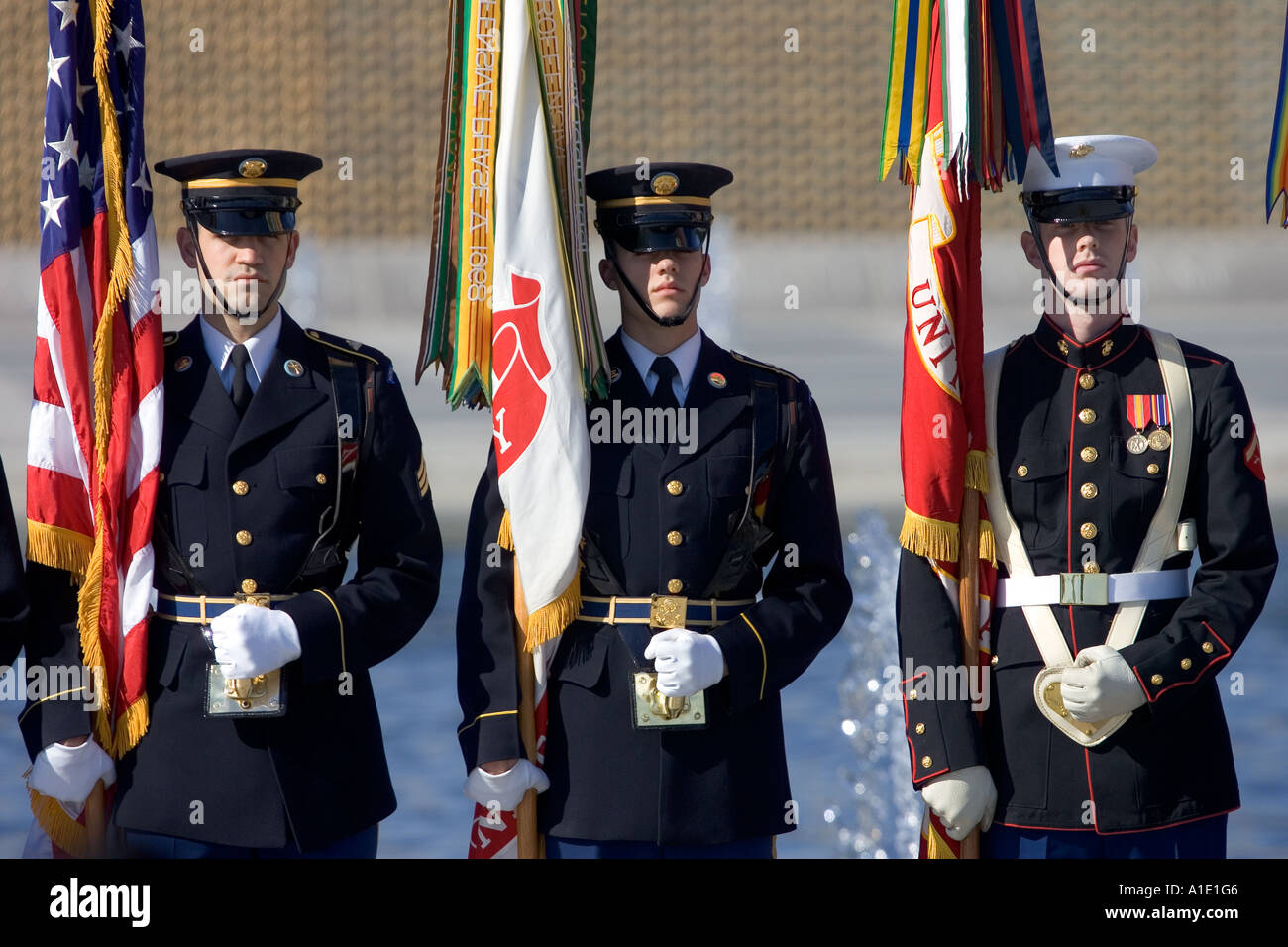 American servicemen at The National World War II Memorial Washington DC United States of America - Stock Image
