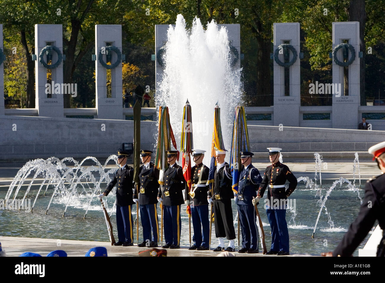 Servicemen at the National World War II Memorial Washington DC United States of America - Stock Image