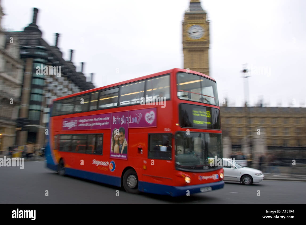 Red Double Decker Bus Parliament Square London United Kingdom - Stock Image