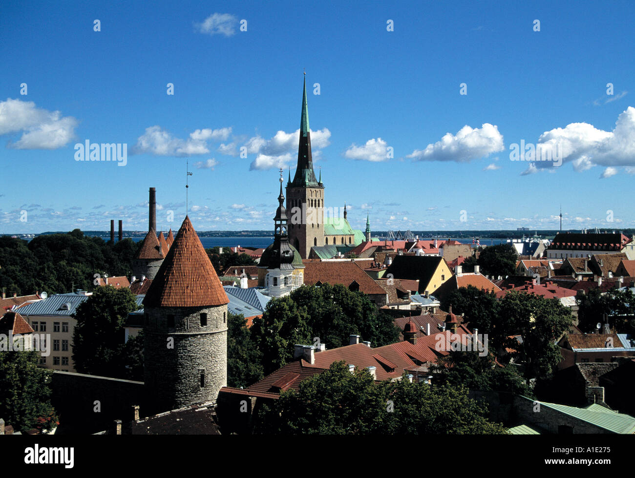 Rooftops with Oleviste Church - Stock Image