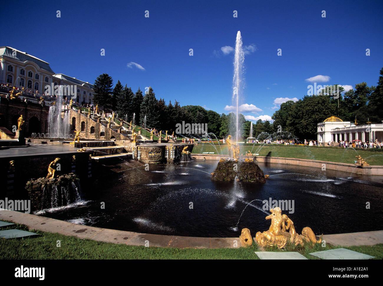 Peterhof Grand Cascade and Samson Fountain St Petersburg  - Stock Image