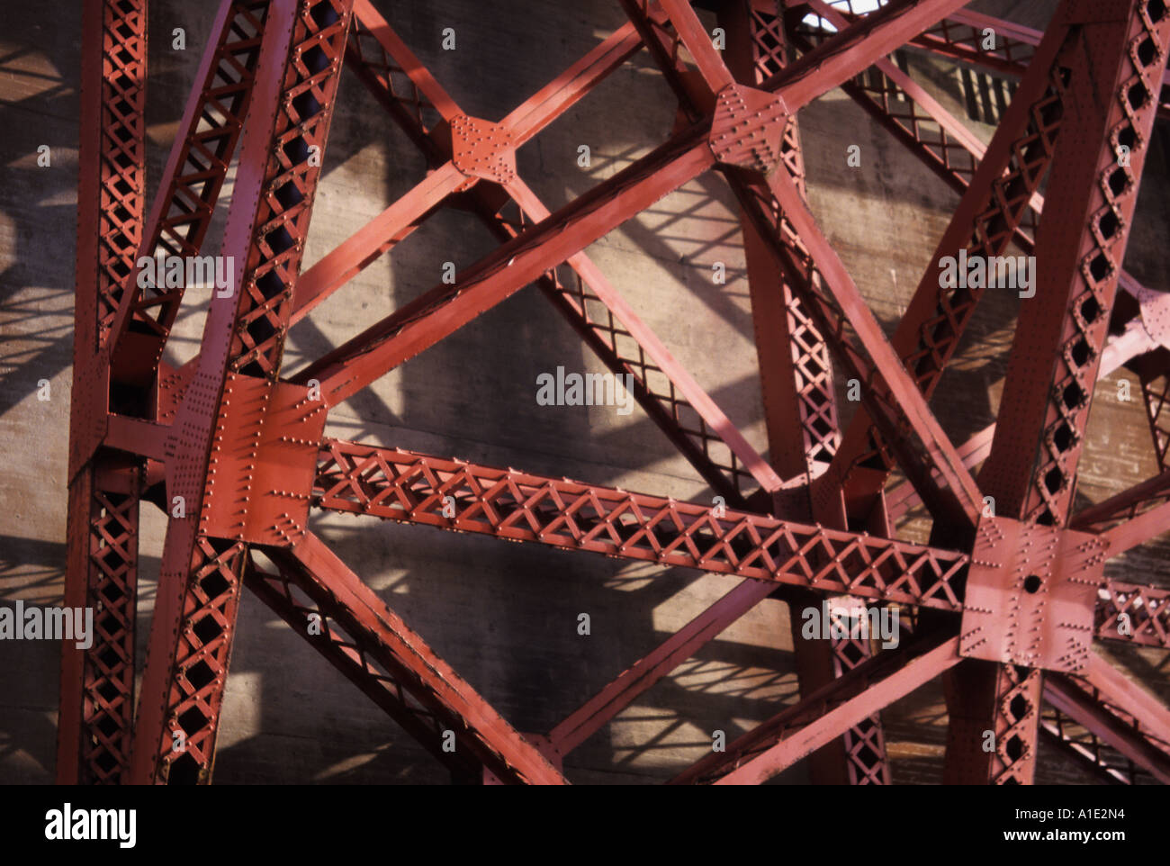 Structural detail of the Golden Gate Bridges arch San Francisco California Stock Photo