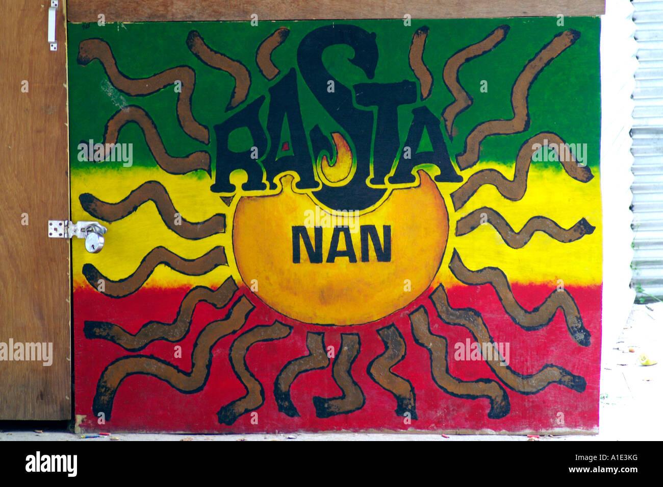 Rasta nan sign and logo, stylised indian Nan bread and rastafarian symbol rasta man jamaican flag, Kaso village, - Stock Image