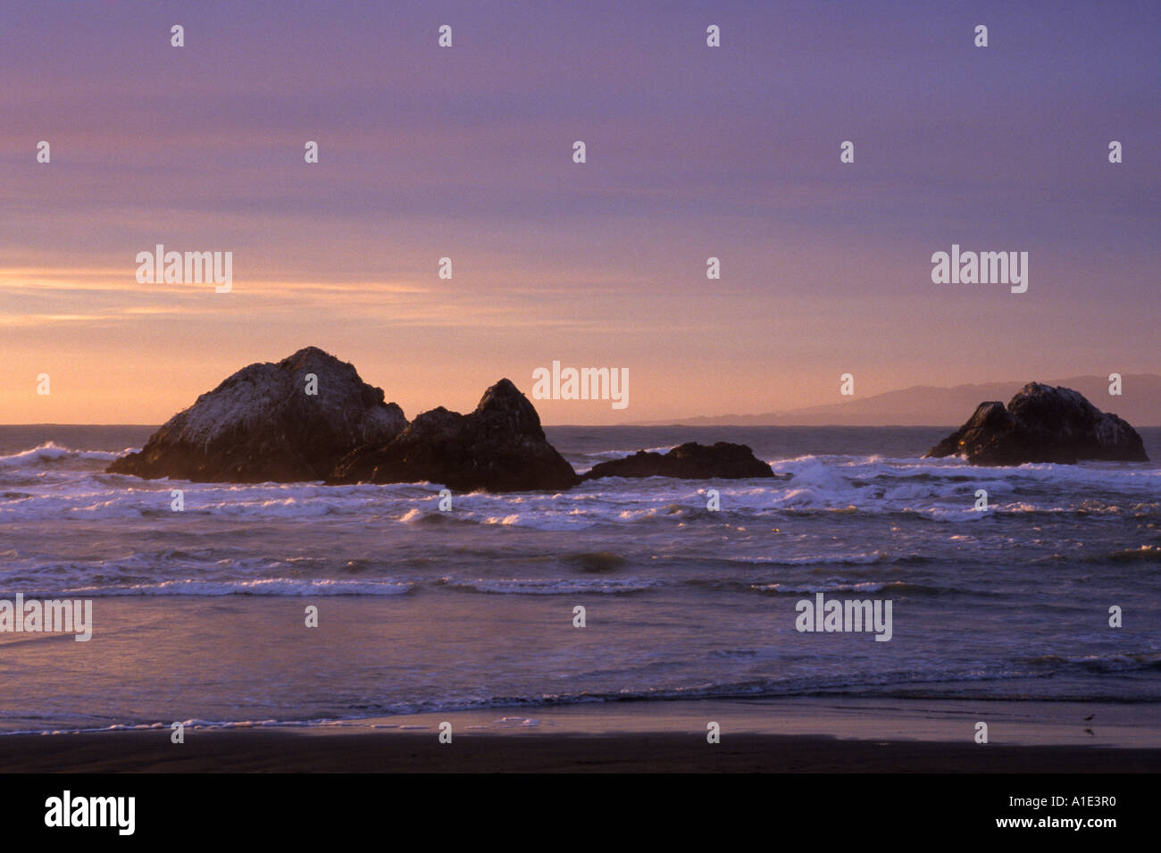 Seal Rocks during sunset Ocean Beach, San Francisco, California, United States of America - Stock Image