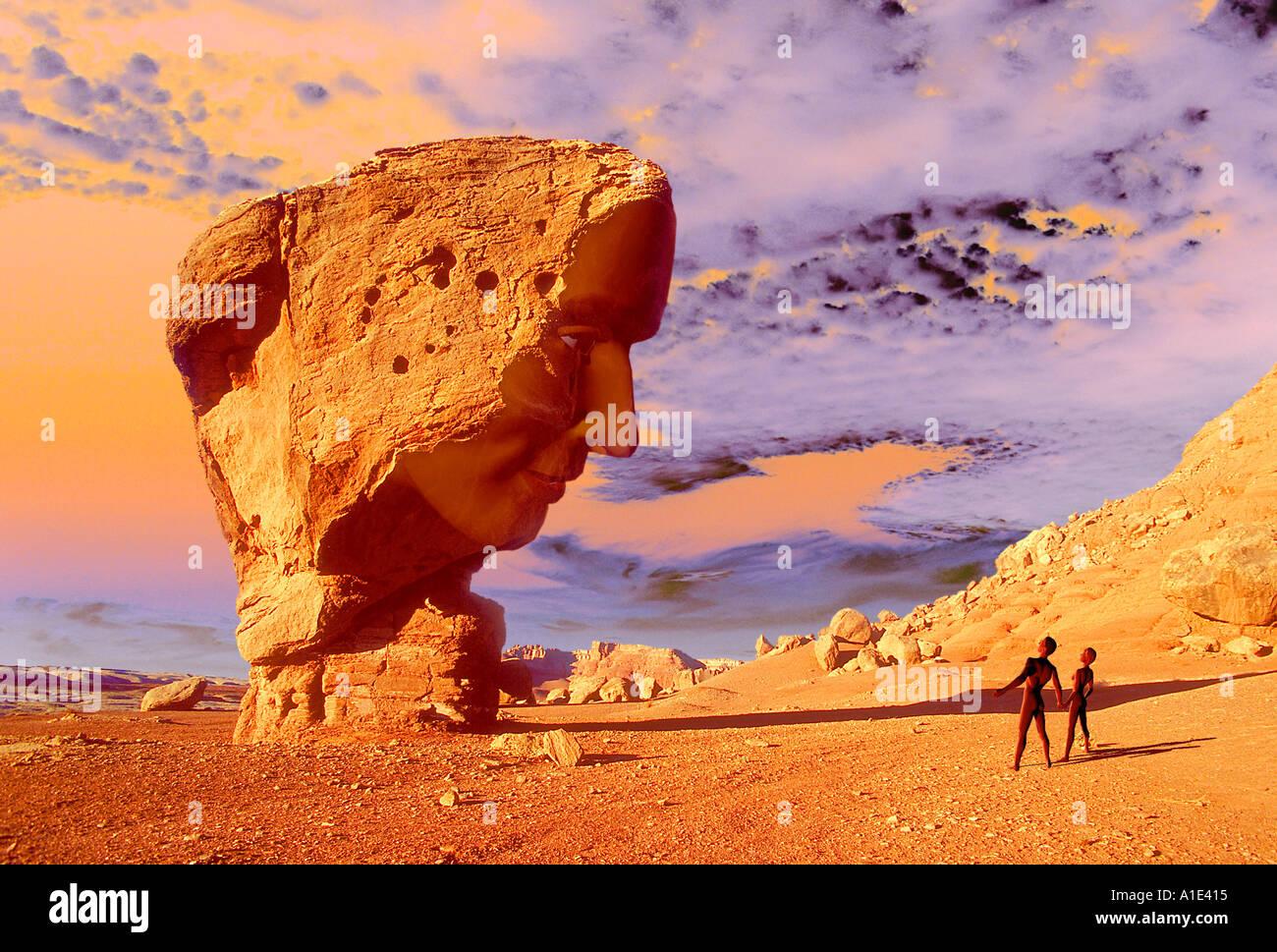 Martian Face - Stock Image