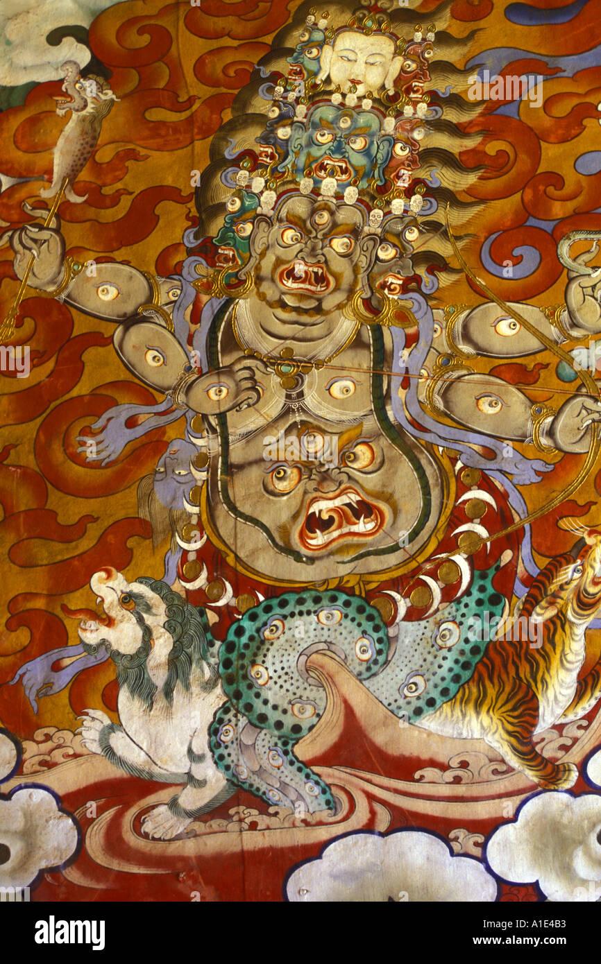 Fresco of the God Pehor Gelpo in Drukpa Kagyu Buddhism Monastery of Gangtey Bhutan - Stock Image