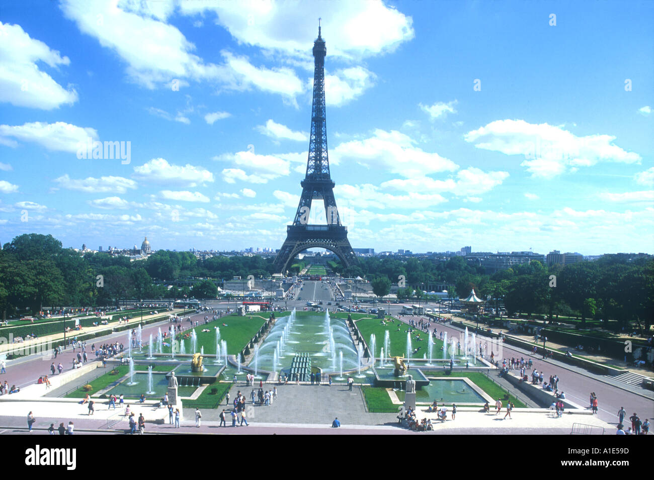 Eiffel Tower with fountains of the Trocadero Jardins Gardens Paris France Europe  Stock Photo