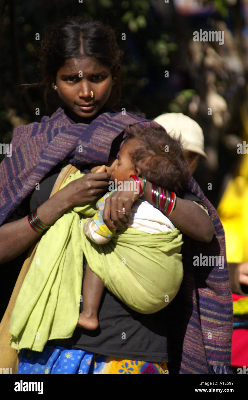 Mother And Baby River Outside Nature Indian Stock Photo