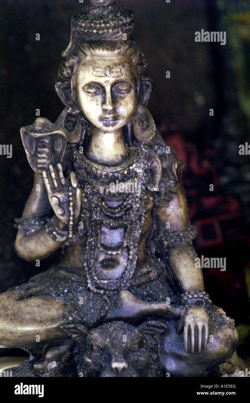 Metal statue of Shiva the Great Yogi hindu god deity meditating - Stock Image
