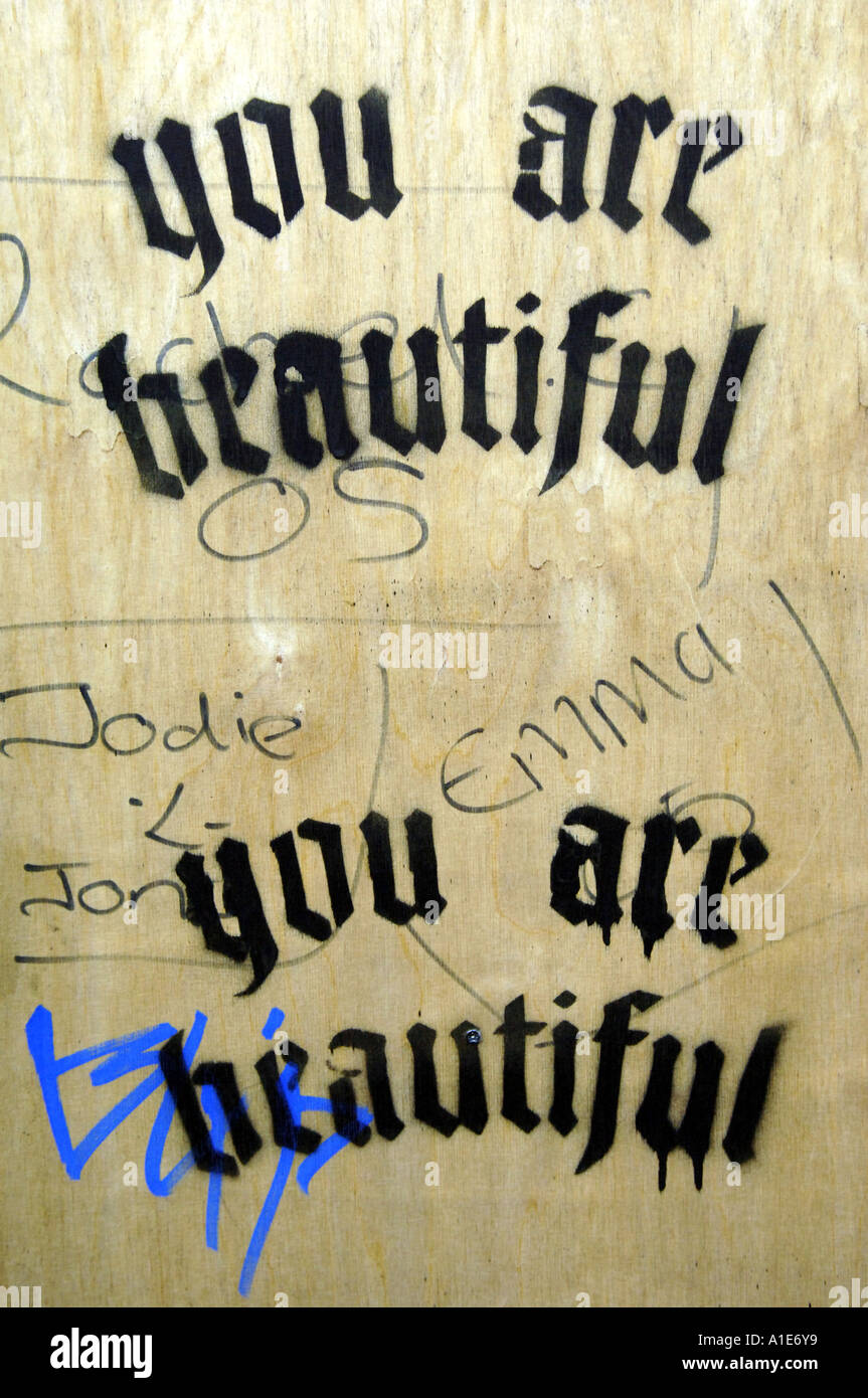 wall graffiti stencil art you are beautiful twice names tag tagging ...