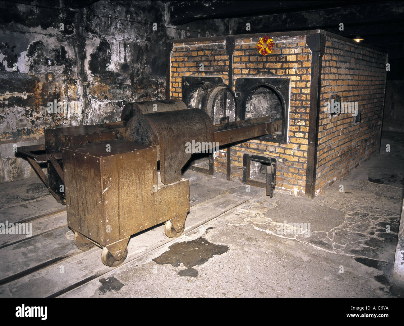 gas chamber ovens at auschwitz concentration camp in