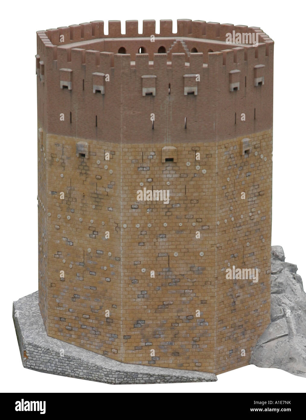 the red tower of Alanya as a miniature model, Turkey, Turkish Riviera, Alanya - Stock Image