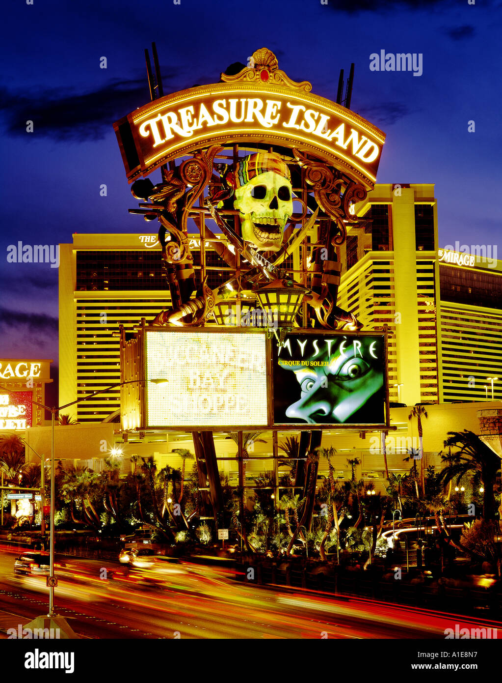 Neon Sign Of Treasure Island Casino On The Strip In Las