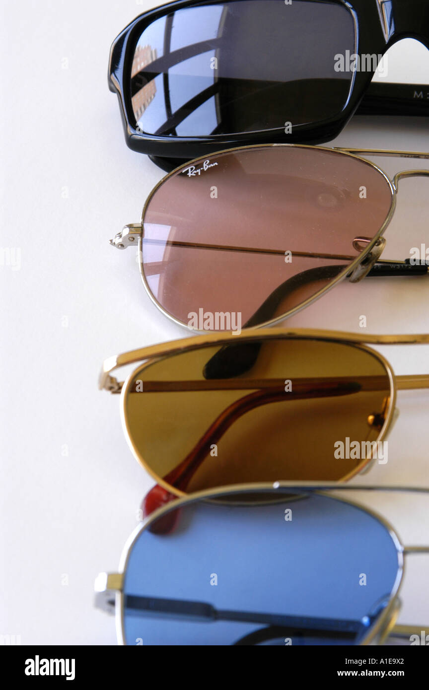 Four pairs of Ray ban sunglasses - Stock Image