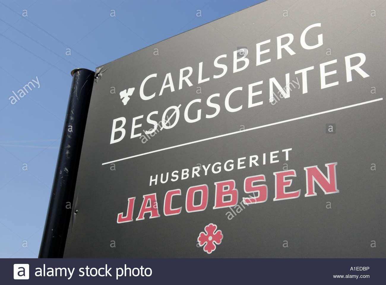 Sign outside Carlsberg Visitors Center Carlsberg Besa gscenter in Valby Copenhagen Denmark Stock Photo