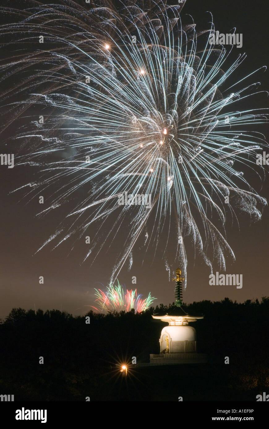 Central Milton Keynes firework display over the city of Milton Keynes Buddhist Peace Pagoda on Guy Forks night 5th - Stock Image