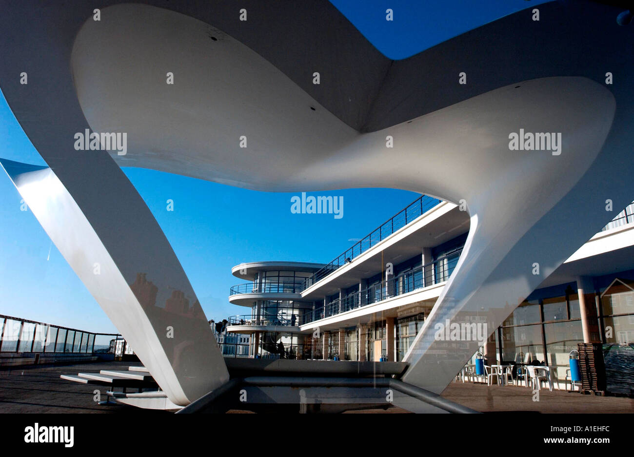 Bandstand designed by architect Niall McLaughlin for De La Warr Pavilion Bexhill on Sea East Sussex - Stock Image