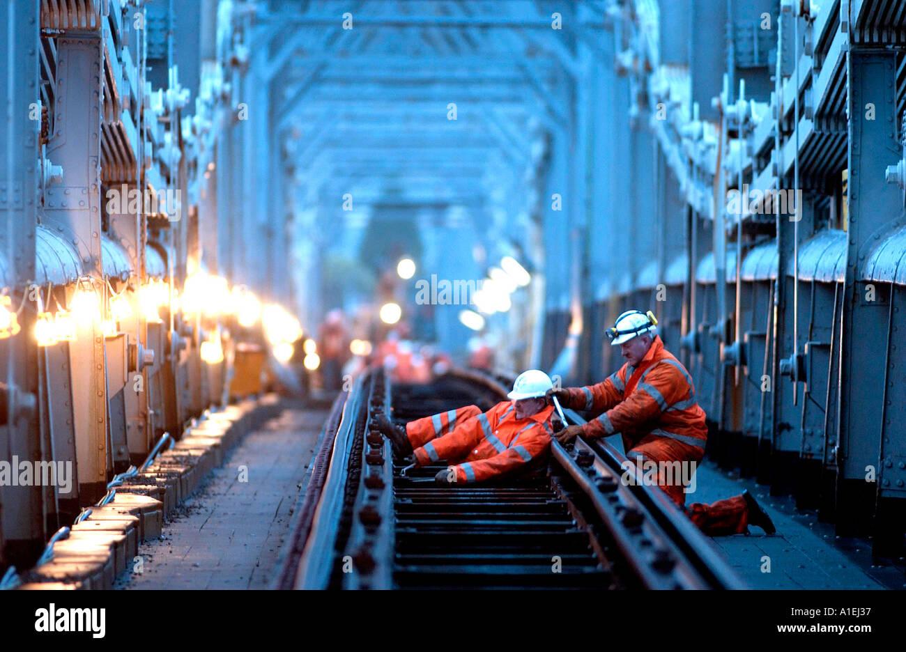 Royal Albert Bridge over the Tamar at Saltash gets new trackbed Stock Photo