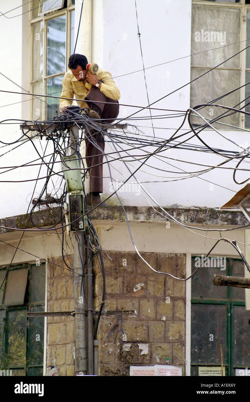 indian telecom expert technician repairing telephone lines standing rh alamy com Household Wiring Diagrams House Wiring