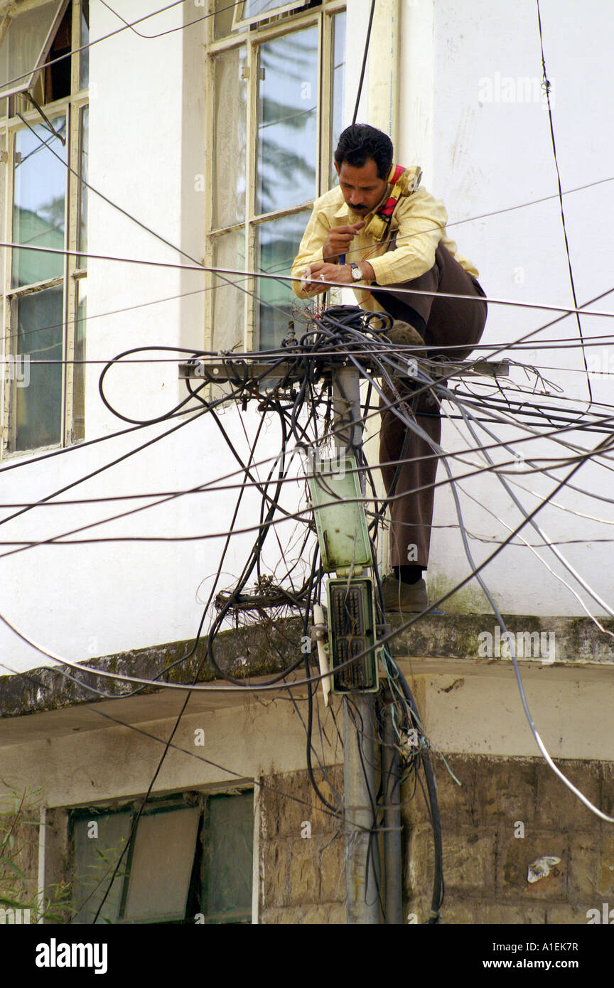 indian telecom expert technician repairing telephone lines standing rh alamy com India Electrical Wiring Mess House Wiring