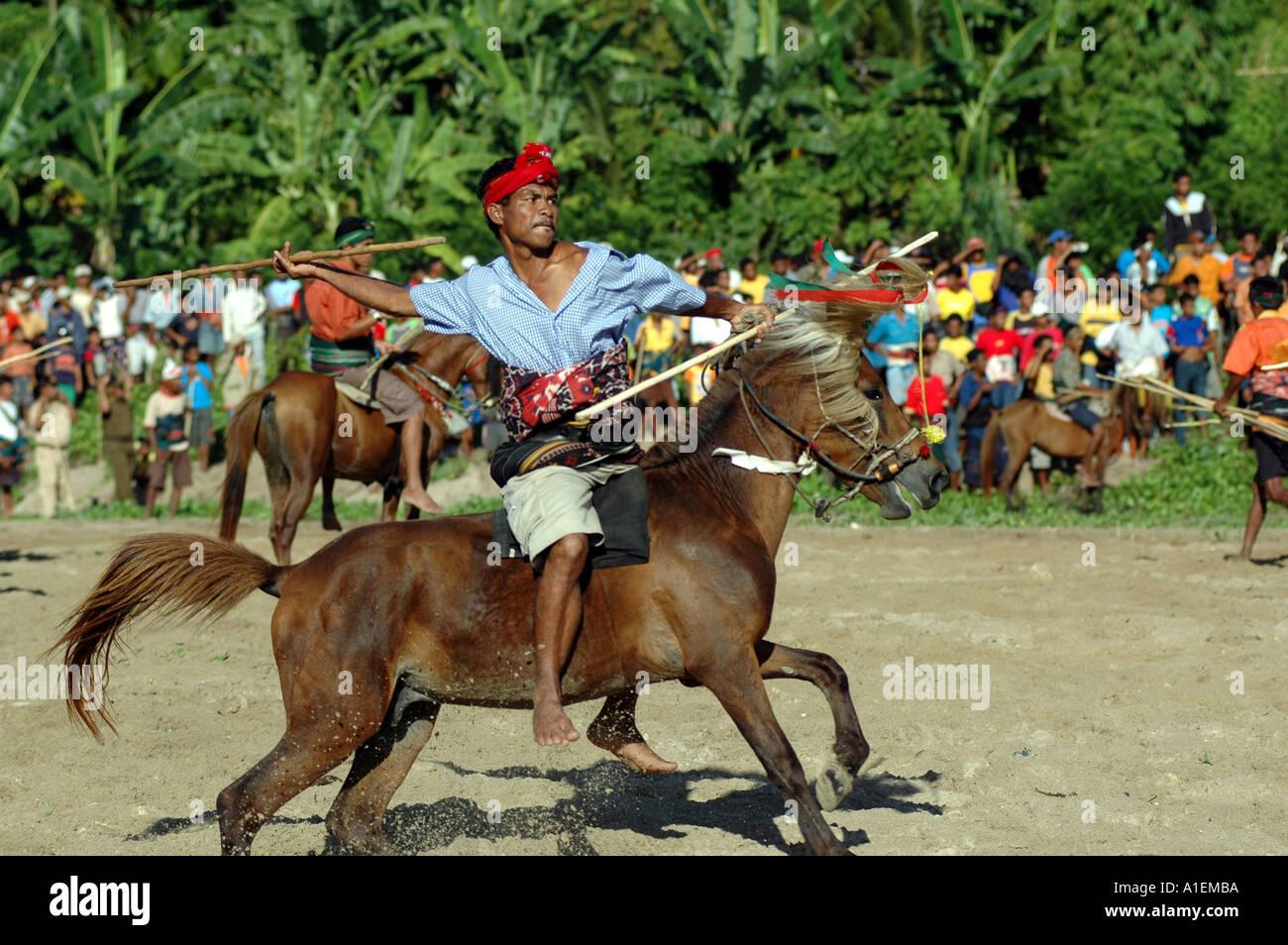 WEST SUMBA INDONESIA PASOLA RITUAL WAR - Stock Image
