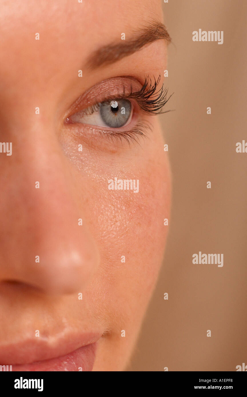 Partial view of female face - Stock Image