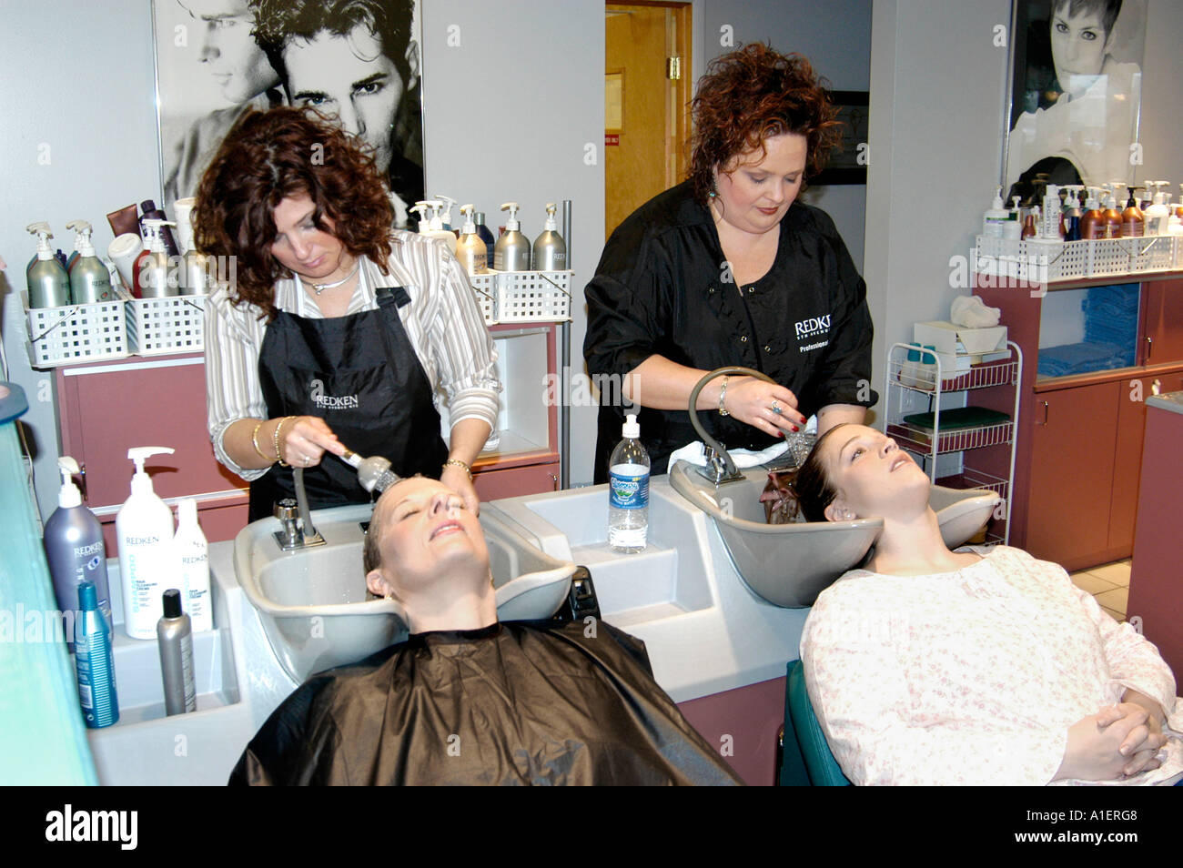 Woman Has Hair Cut Shampoo Color And Permanent Done By A