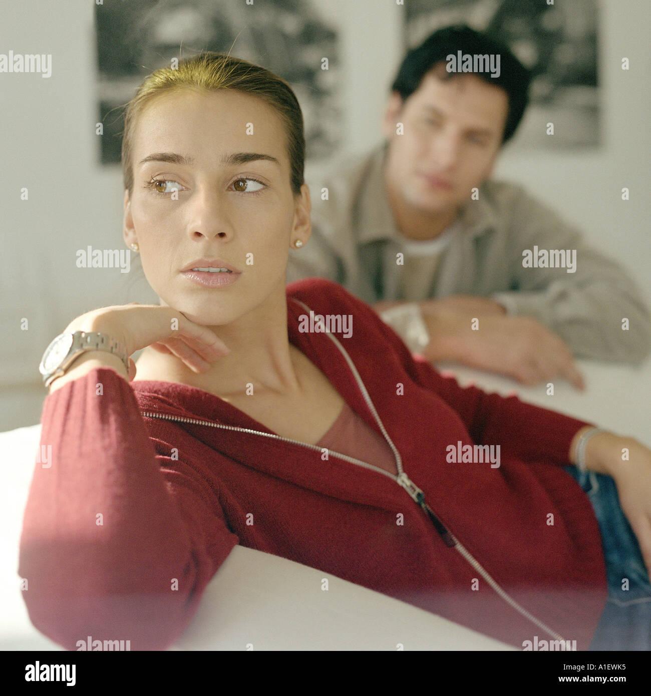 Couple, woman looking away - Stock Image