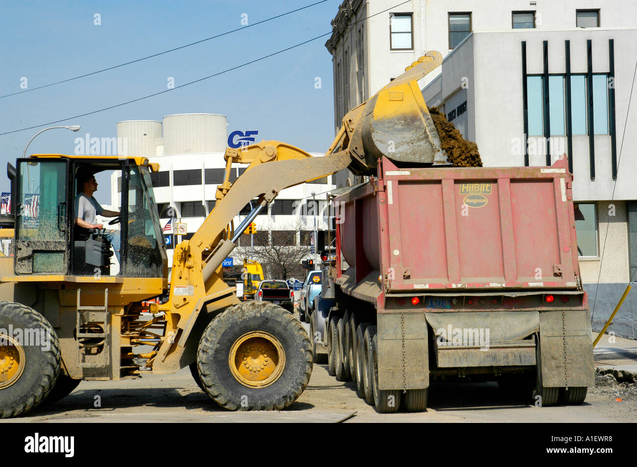 heavy equipment and manual labor us used in road repair and new rh alamy com heavy equipment manuals wanted heavy equipment manuals for grove rt58