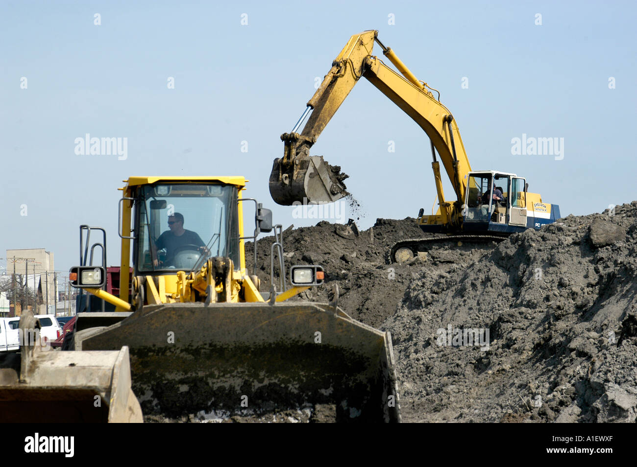 heavy equipment and manual labor us used in road repair and new rh alamy com heavy equipment manuals free download heavy equipment manuals free download