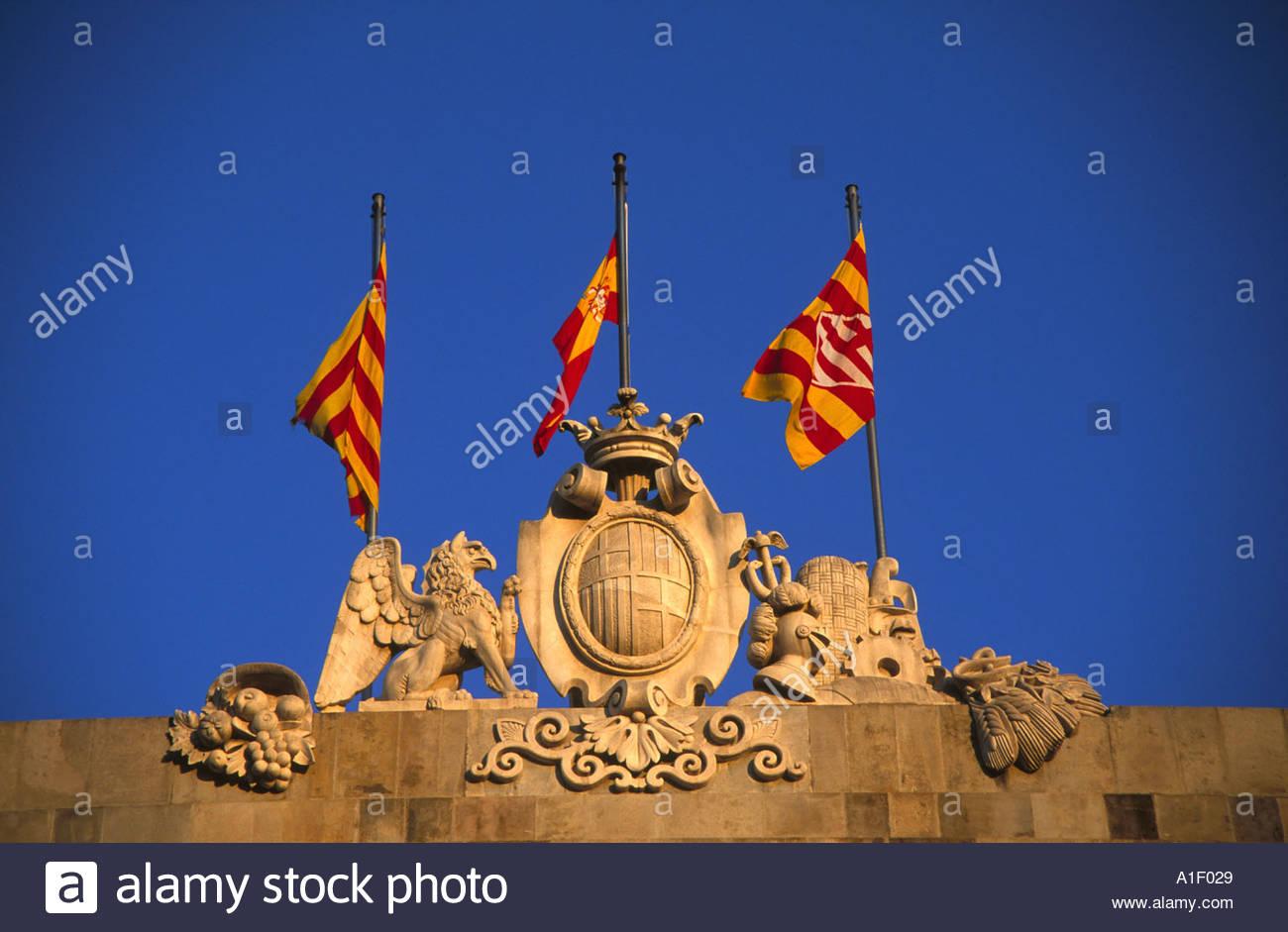 Catalonian Flag Municipal Buildings Barcelona - Stock Image