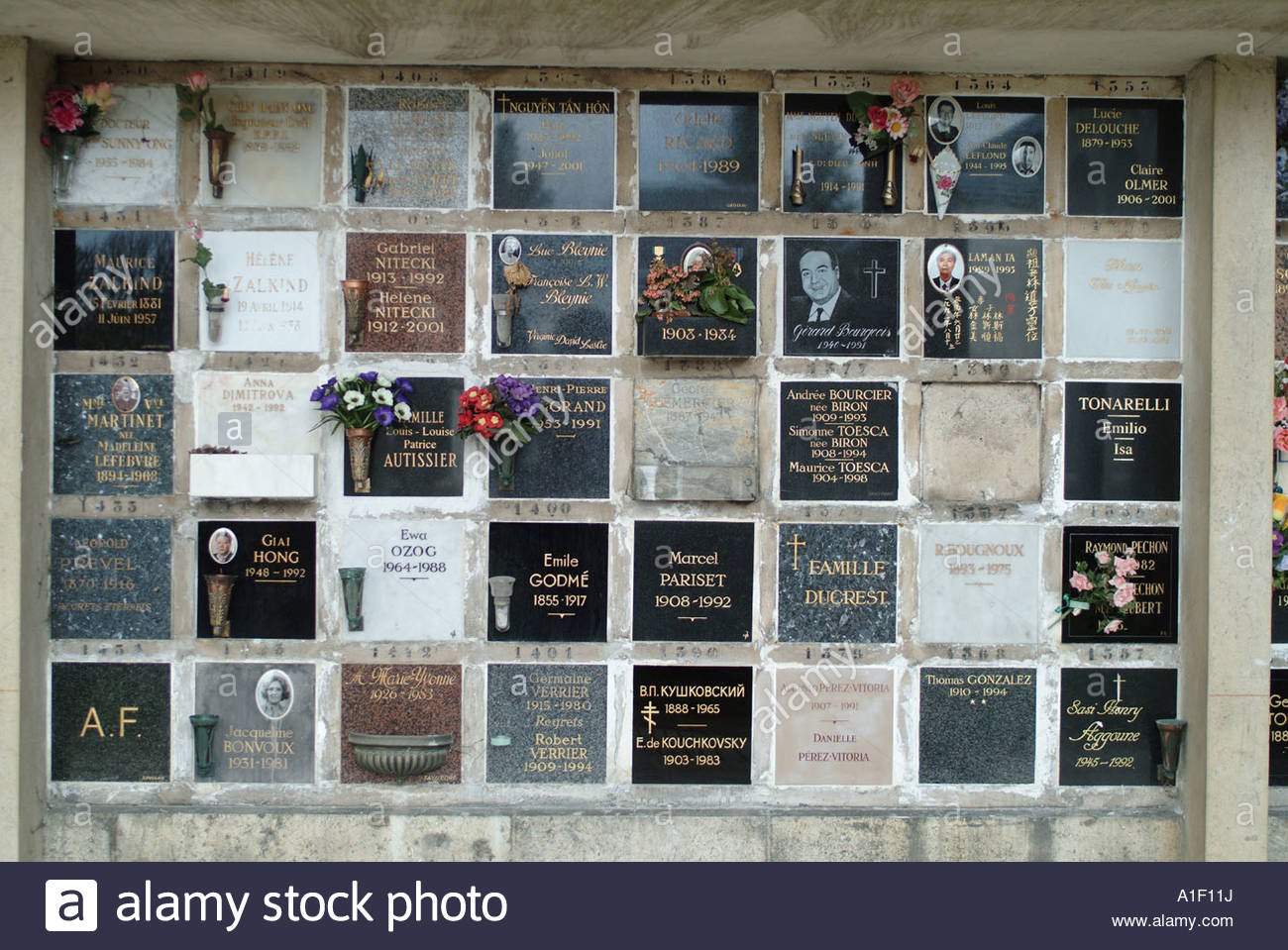 wall of burial niches in the cemetery stock photo 10239389 alamy