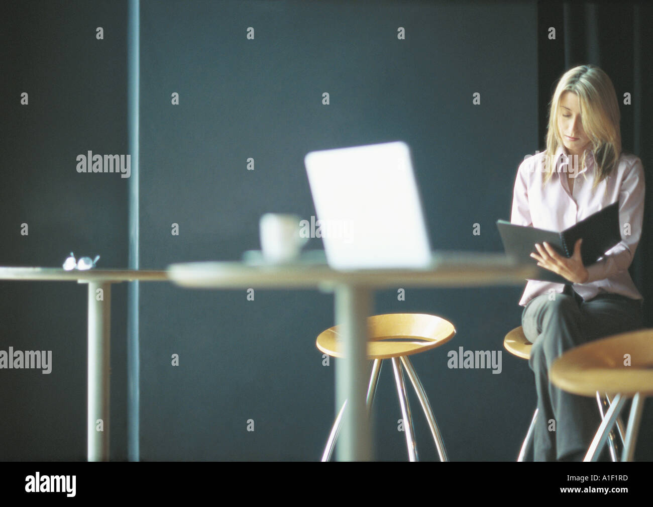 Businesswoman working alone in cafe setting - Stock Image