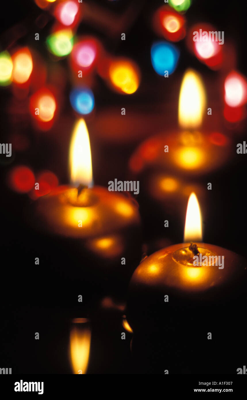 floating candles and lights - Stock Image
