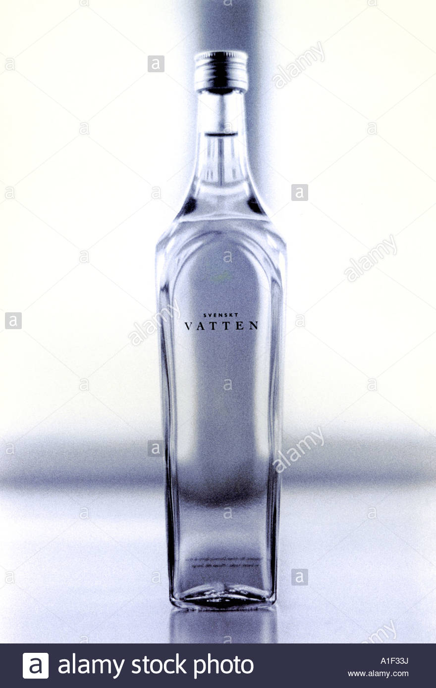 Close up view of bottle containing water Stock Photo