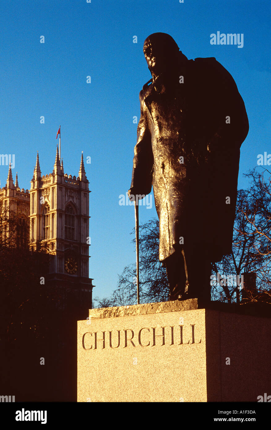 Churchill Statue Westminster London UK - Stock Image