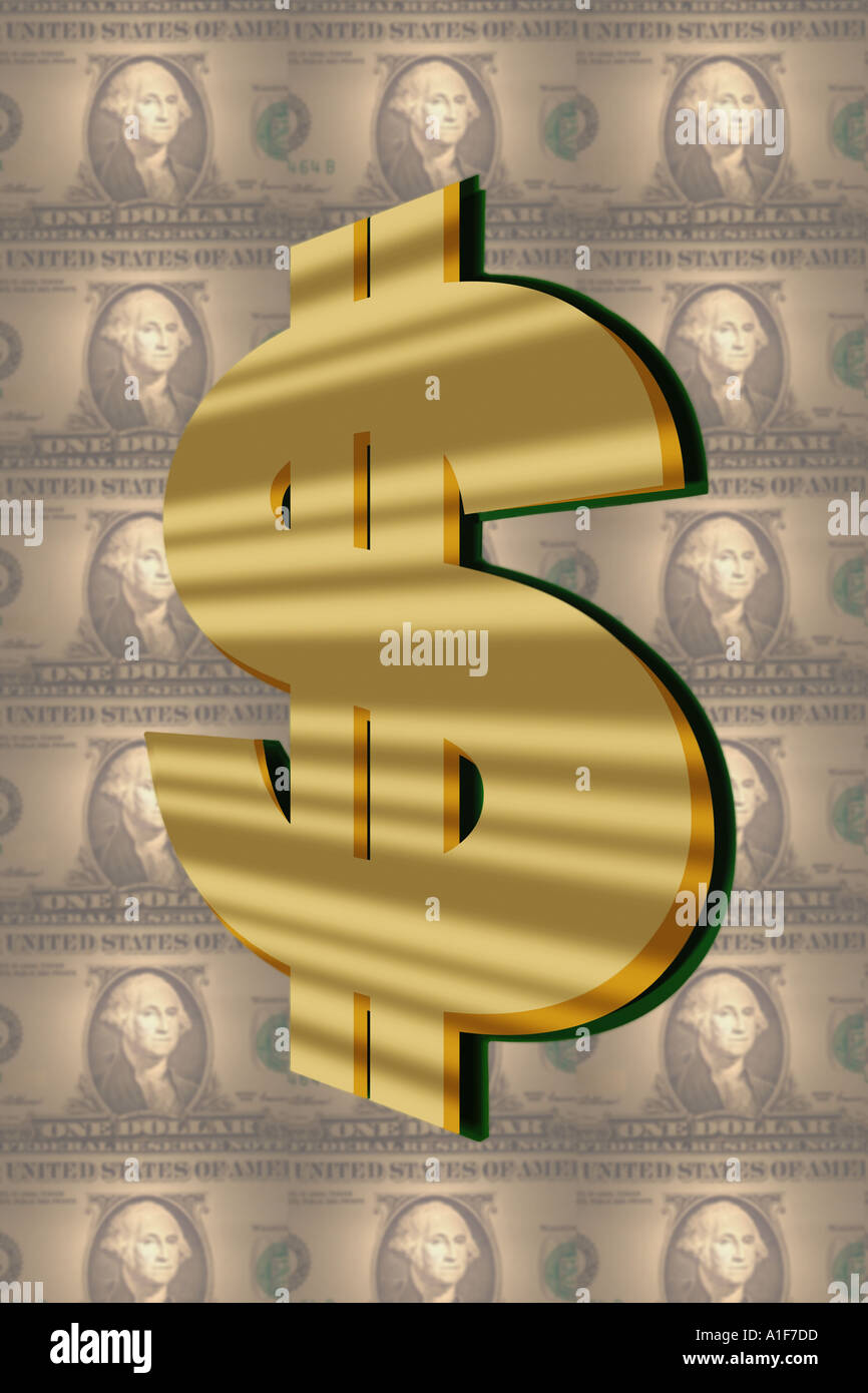 the dollar sign with a background of bills - Stock Image