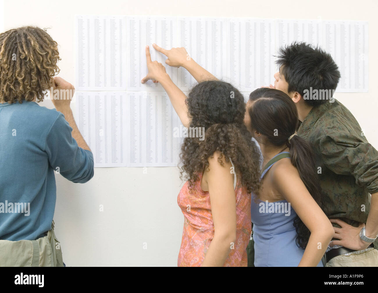 Students looking and pointing at results posted on wall, rear view - Stock Image
