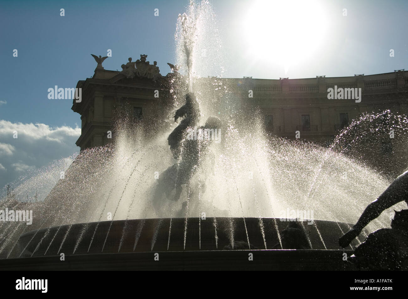 Water fountain Fontana delle Naiadi in Piazza della Republica in Quirinal district Rome Italy Stock Photo