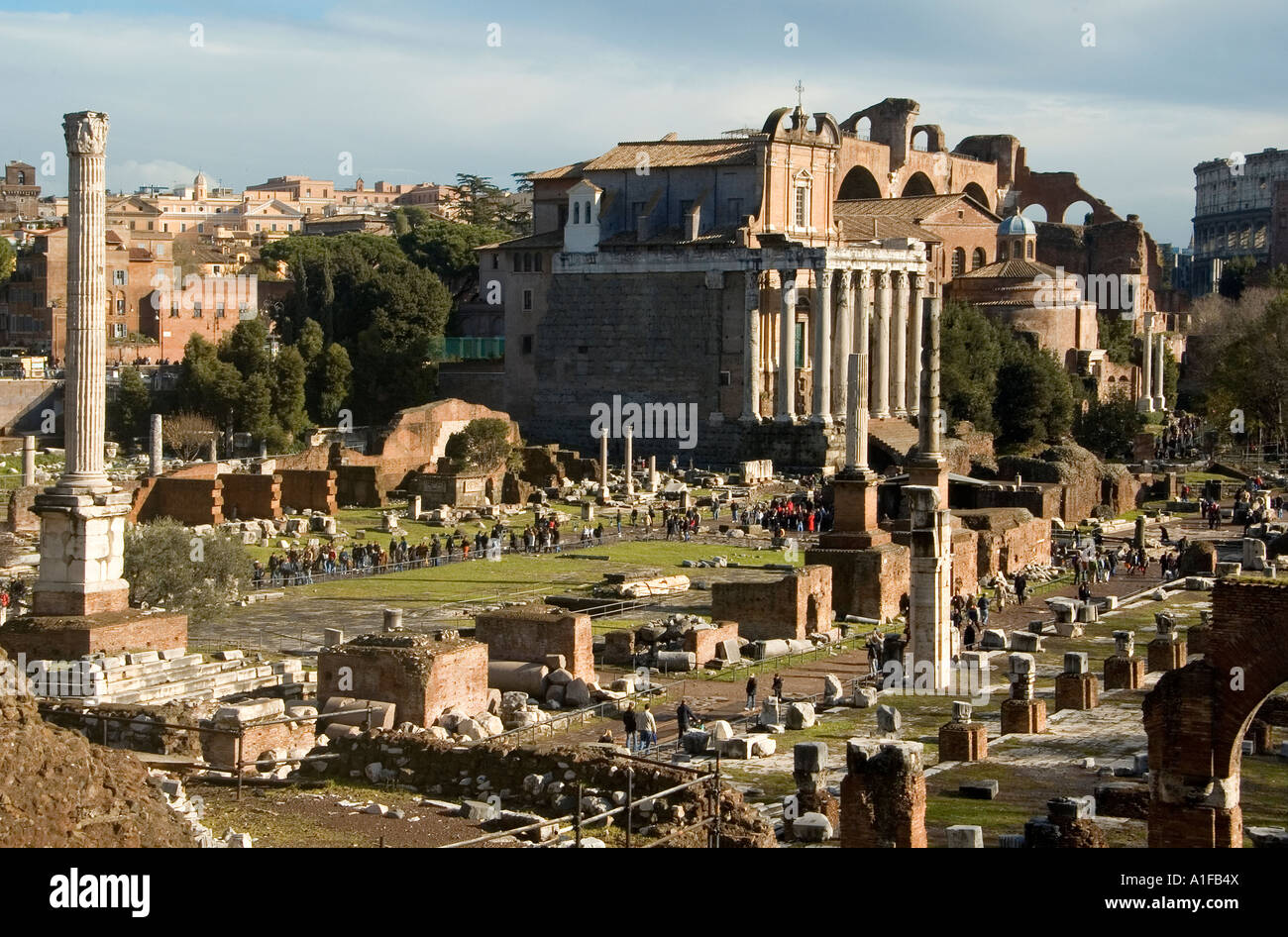 at the ancient Roman forum site, Rome Italy - Stock Image