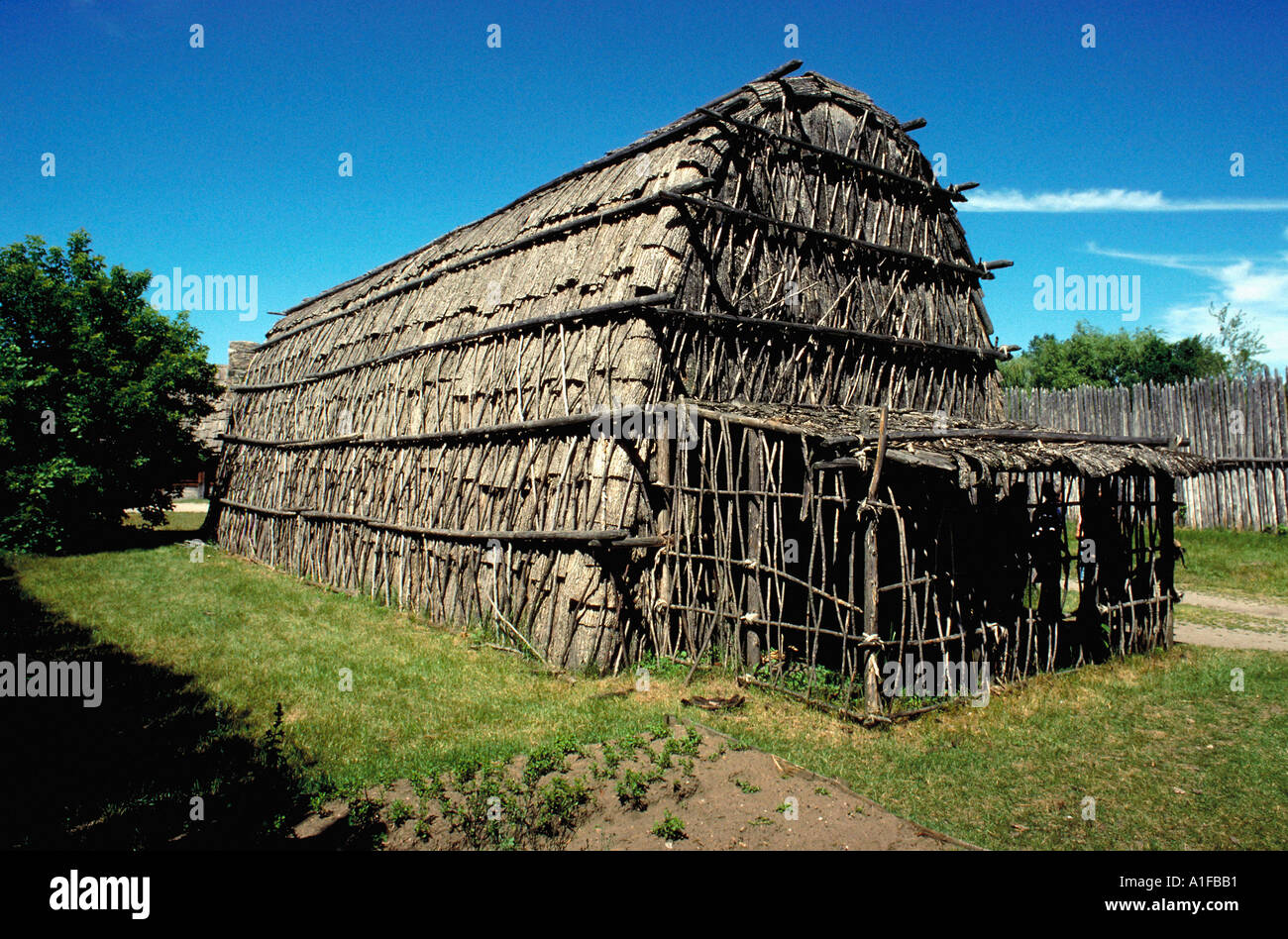 Longhouse Sainte Marie Among Hurons Midland ON Canada extensive collection of Ontario images available  - Stock Image