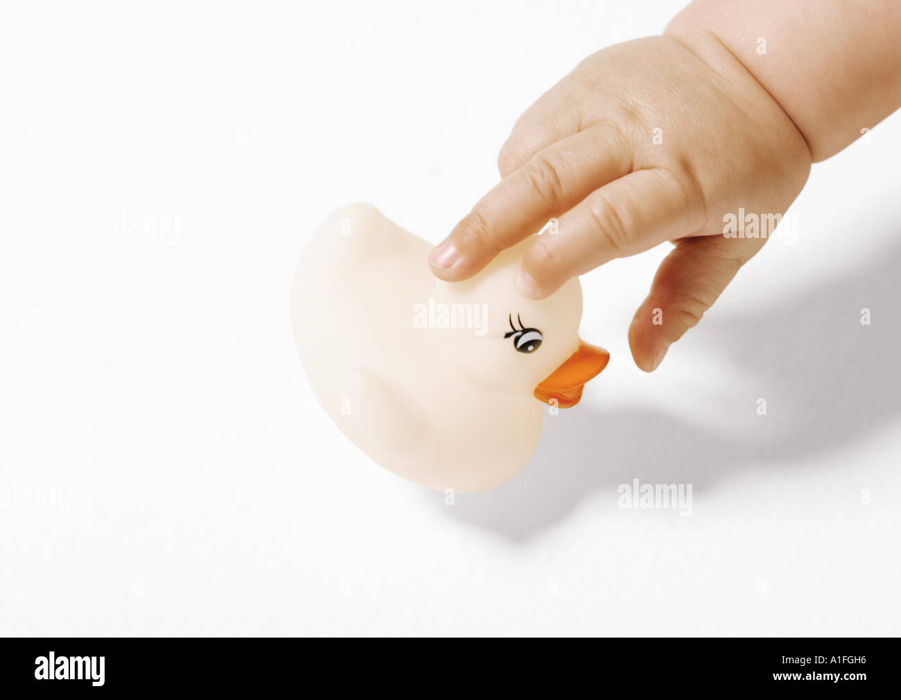 Baby's hand picking up rubber duck - Stock Image