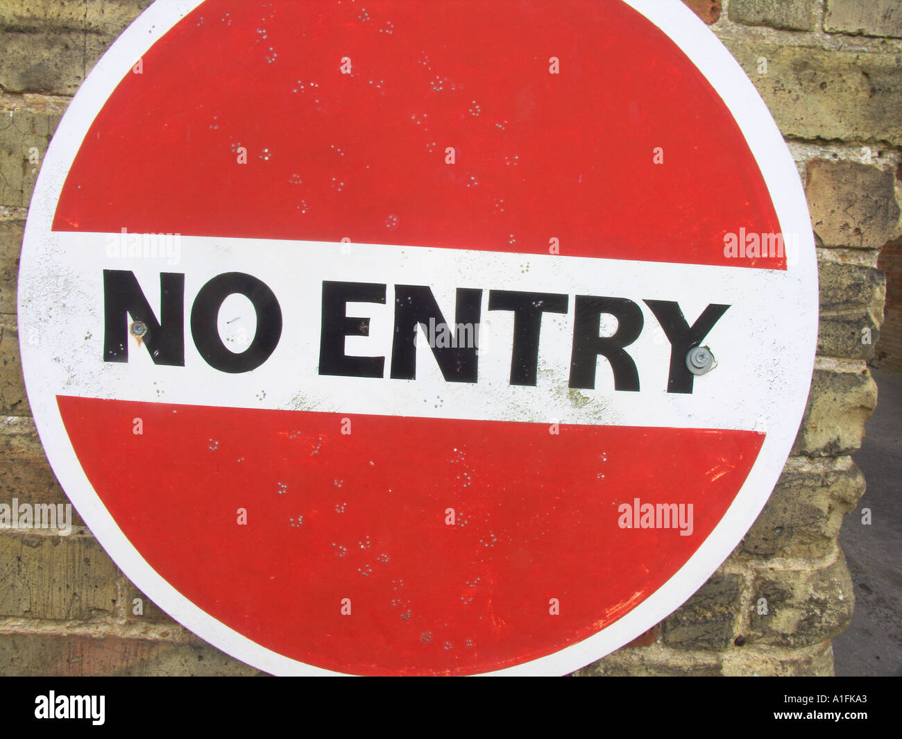 No entry sign red background highway code roadsign - Stock Image
