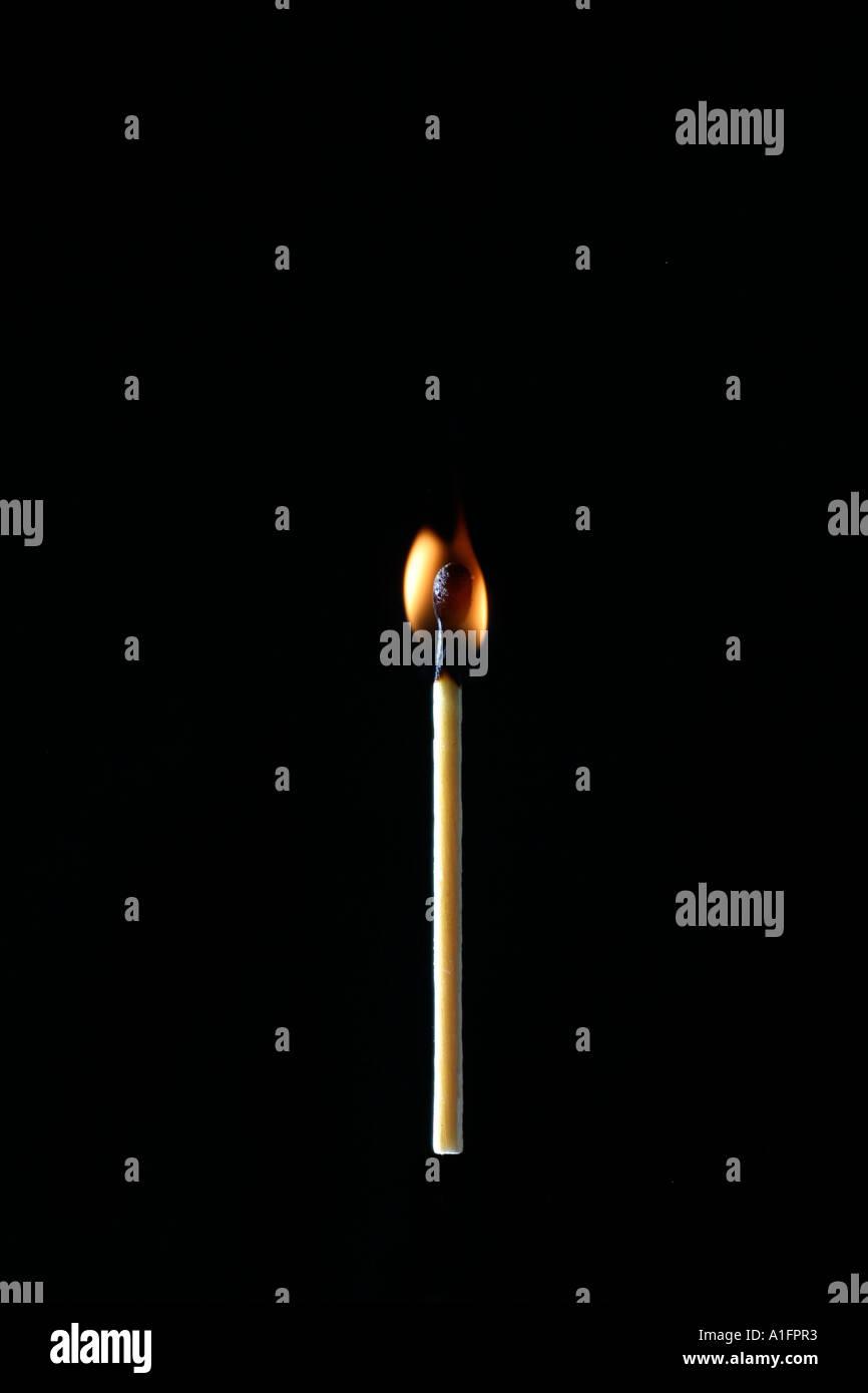 whole burning match against black background - Stock Image