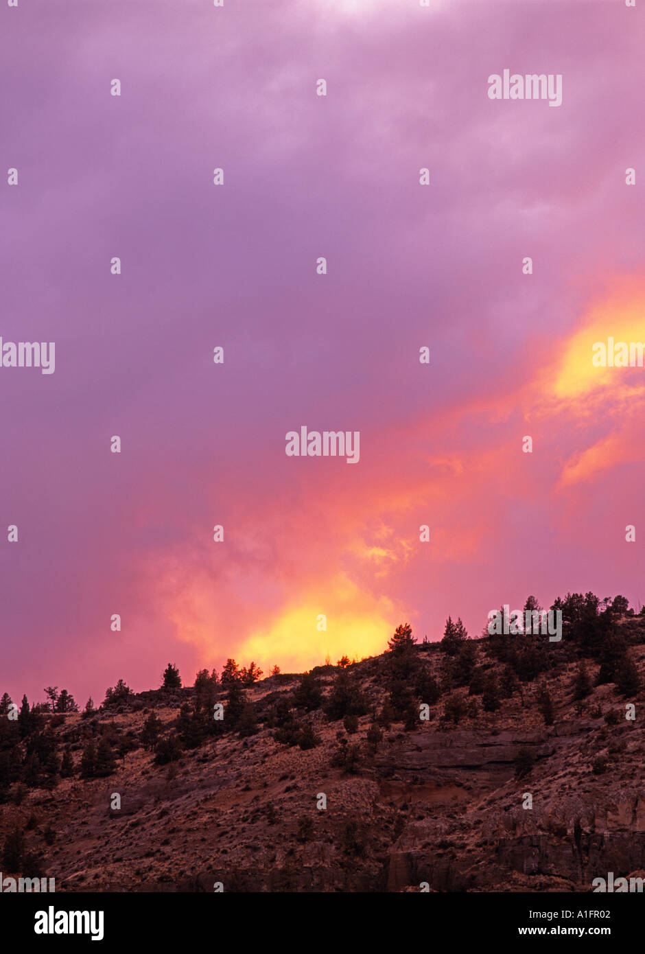 Sunset clouds over Lake Billy Chinook Oregon - Stock Image
