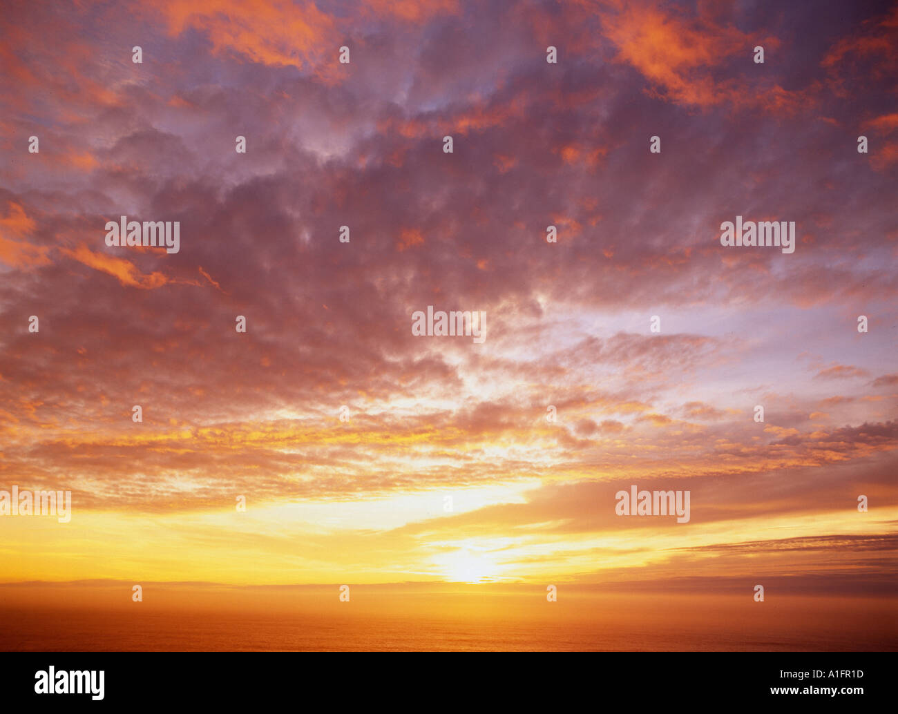 Sunset near Port Orford Oregon - Stock Image