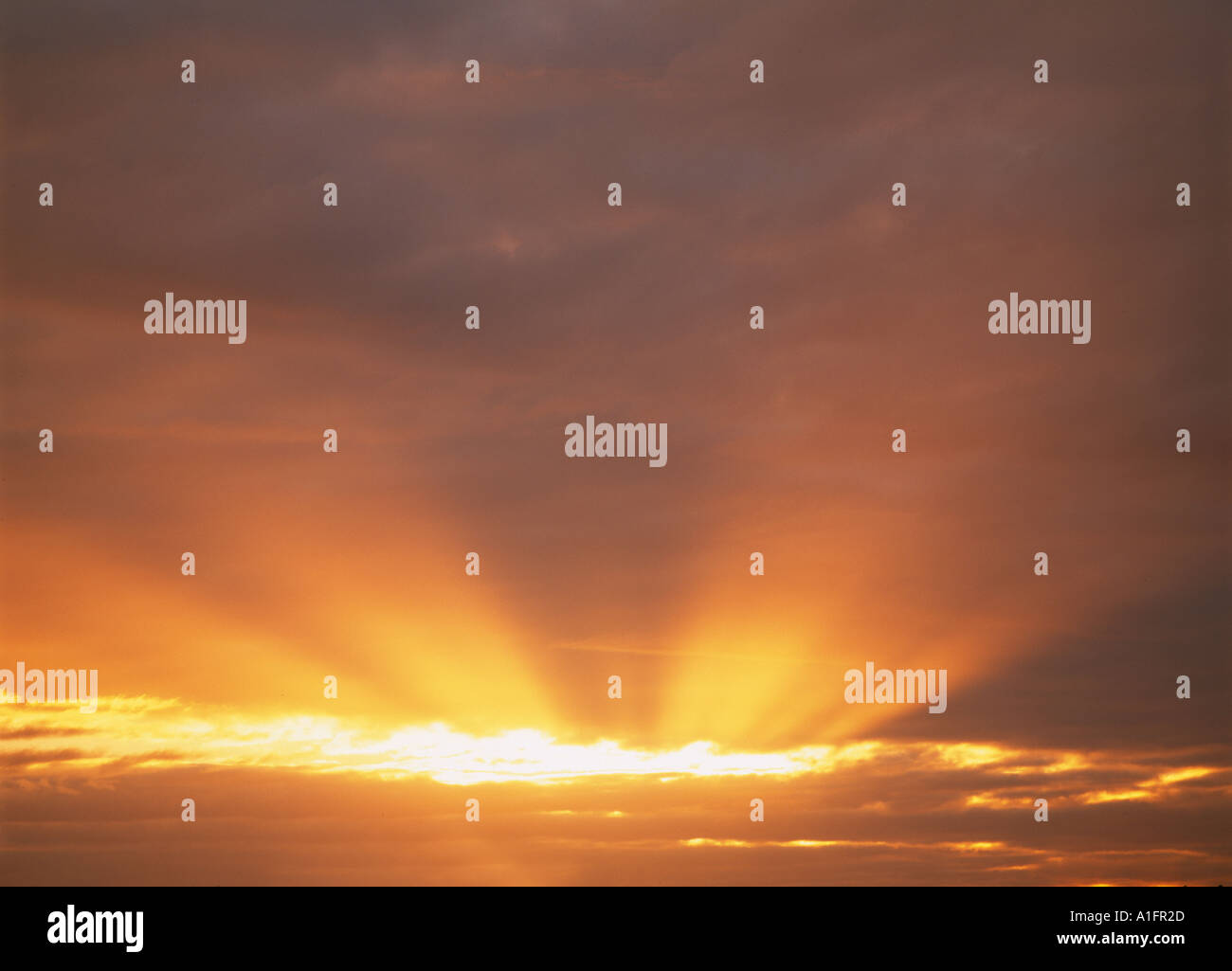 Sun through clouds near Albany Oregon - Stock Image